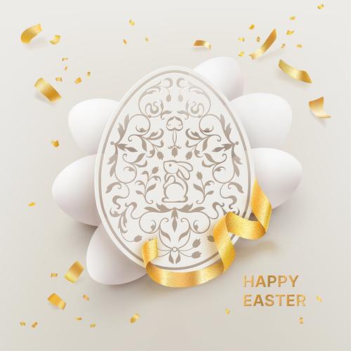 White paper cut easter egg vector