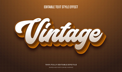 White pen font text effect editable vector