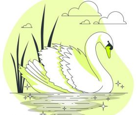 White swan illustration vector