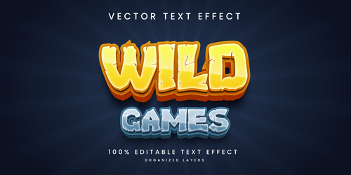 Wild games diet text effect editable vector