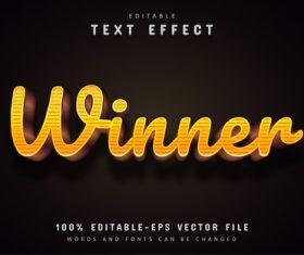 Winner text effect editable vector