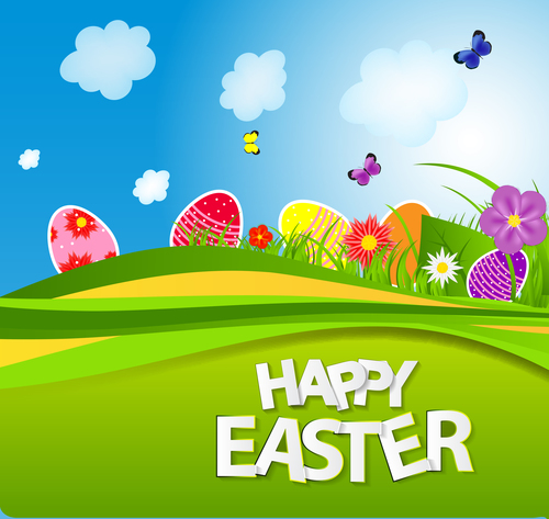 Wish you happy easter greeting card vector