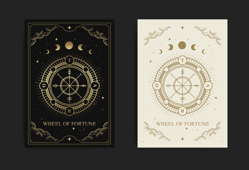 Wof tarot esoteric boho style design vector