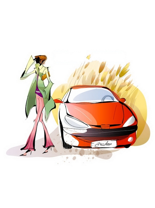 Woman and sports car illustration vector