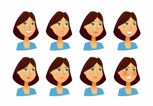 Woman expressions vector flat set of images