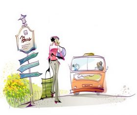 Woman illustration vector passing by the bus stop