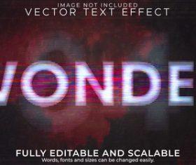 Wonder 3d effect text design vector