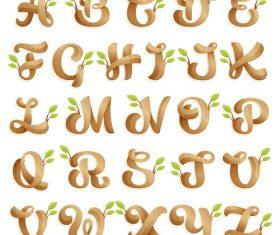 Wood alphabet decoration design vector