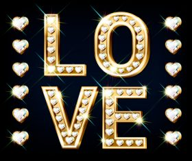 Word love 3d editable text style effect vector