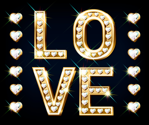 Word love 3d editable text style effect vector