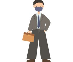 Worker man wearing mask vector