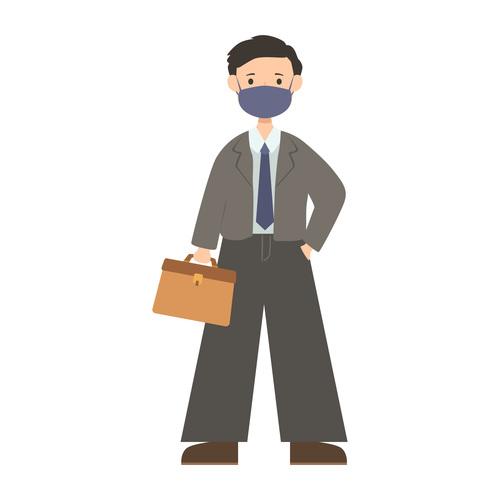 Worker man wearing mask vector