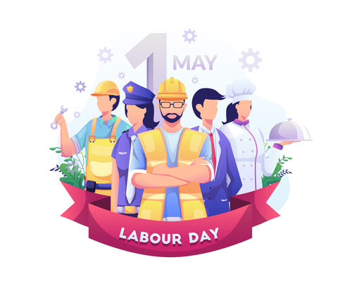 Workers with different occupations celebrate Labor Day on May vector