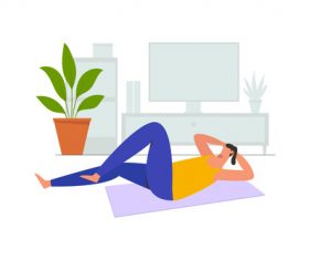 Workout at home illustration vector