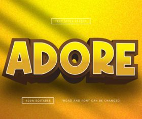 Yellow adore text effect editable vector