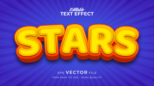 Yellow font on blue background editable text style effect vector