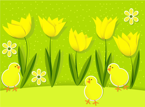Yellow tulips and chickens Easter illustrations in vector