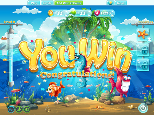 You win game page design vector