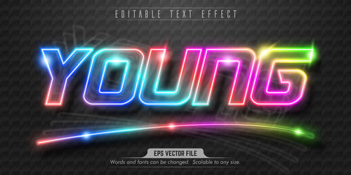 Young text effect editable vector