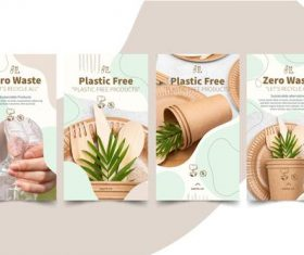 Zero waste and plastic free products design illustration vector