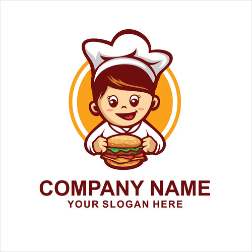 burger chef logo vector
