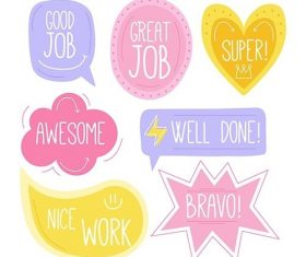 collection of good job and great job stickers vector