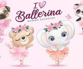 cute little animals ballerina with watercolor illustration set vector