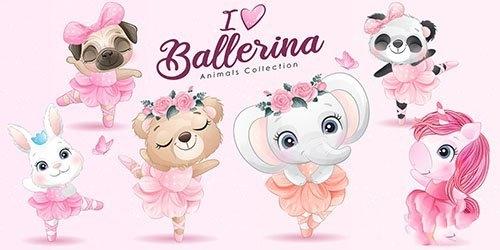 cute little animals ballerina with watercolor illustration set vector