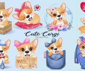 cute little corgi life with watercolor illustration set vector
