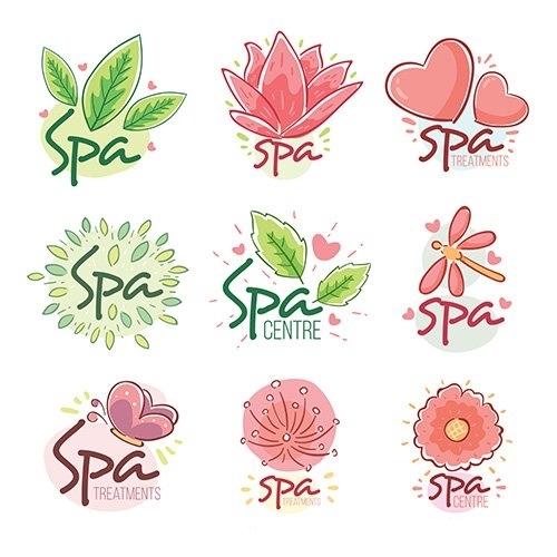 spa center logos flat style vector