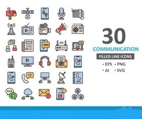 30 Communication Icons filled line vector