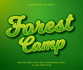 3d pure green font editable text style effect vector