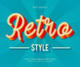 3d retro font editable text style effect vector