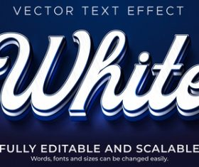 3d white editable text style effect vector