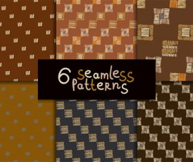 6 ethnic style seamless patterns vector