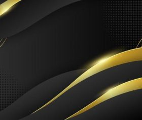 Abstract black vector background with golden stripes