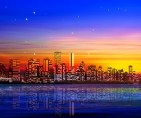 Abstract city background and red sunset vector