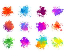Abstract colorful watercolor splatters of twelve vector