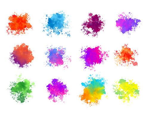 Abstract colorful watercolor splatters of twelve vector