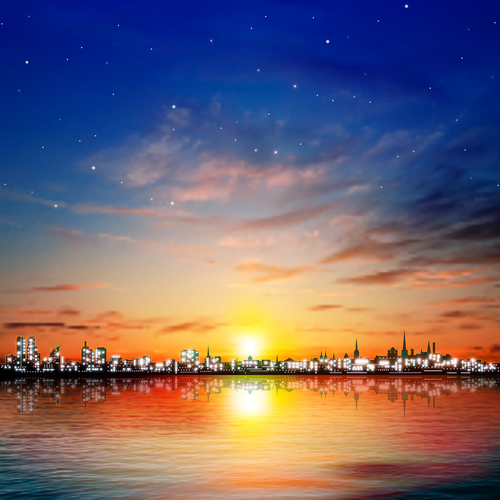 Abstract night background with color sunset in Tallinn vector