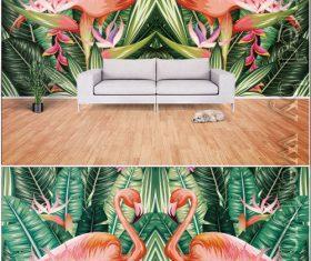 Abstract tropical rainforest banana leaf flame bird tv background vector