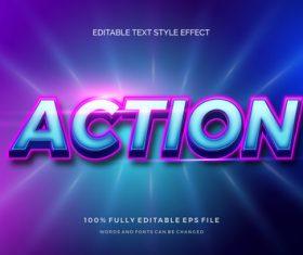 Action editable font 3d vector