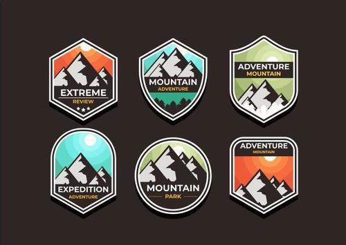 Adventure symbols vector set