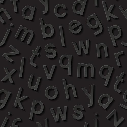 Alphabet black background vector