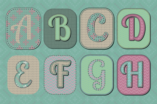 Alphabet knitted patterns vector