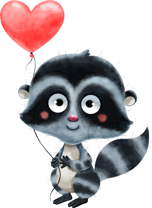 Animal cartoon illustration vector holding heart shaped balloon