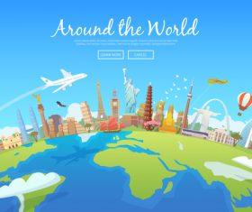 Around the world travel vector
