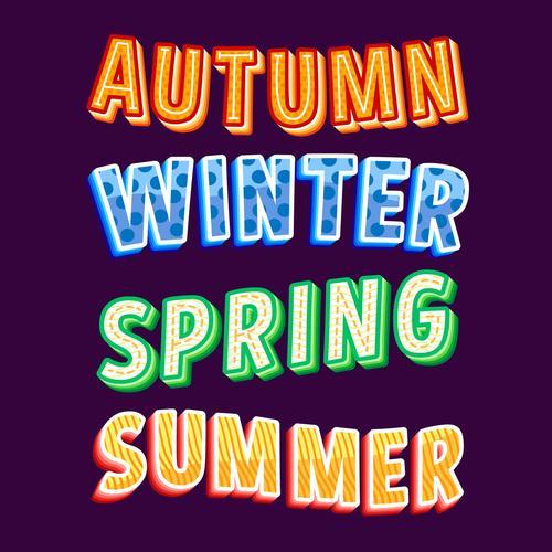 Autumn catchwords lettering vector