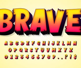 BRAVE 3d editable text style effect vector