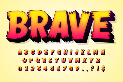 BRAVE 3d editable text style effect vector